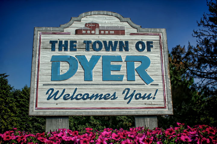 Dyer, Indiana welcome sign