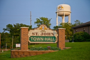 St. John, Indiana outdoor town hall sign