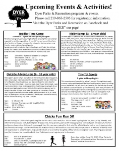 Dyer Parks and Recreation Upcoming Events