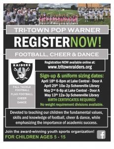 Pop Warner Registration Flier