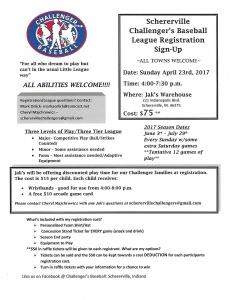 Schererville Challengers Registration Flier