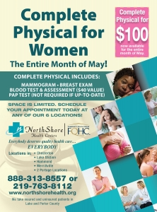 North Shore Health Centers offering Women's Physicals for $100 during May.