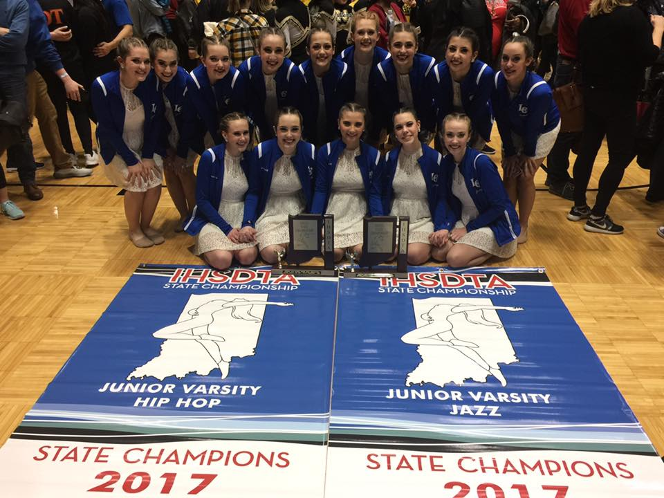 Centralettes competed at State Competition in New Castle, IN and for the 23rd consecutive year, won the State Championship! Pictured: JV team with 1st place banners in Hip Hop and Jazz