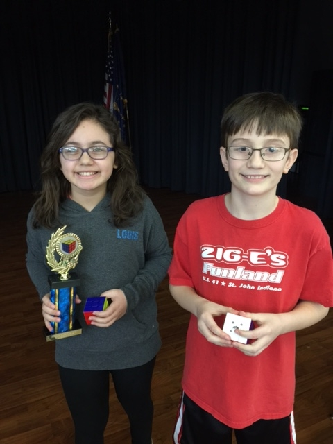 Laisha Pena was the winner of the 5th grade Rubik's Cube Challenge. Runner up was Hunter Carroll.
