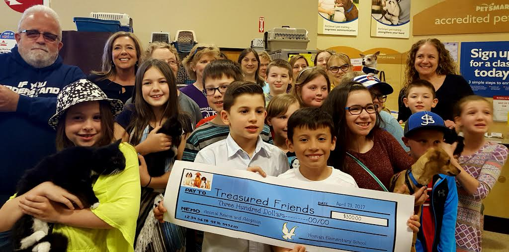 Homan Student Council donates $300 to Treasured Friends Animal Rescue