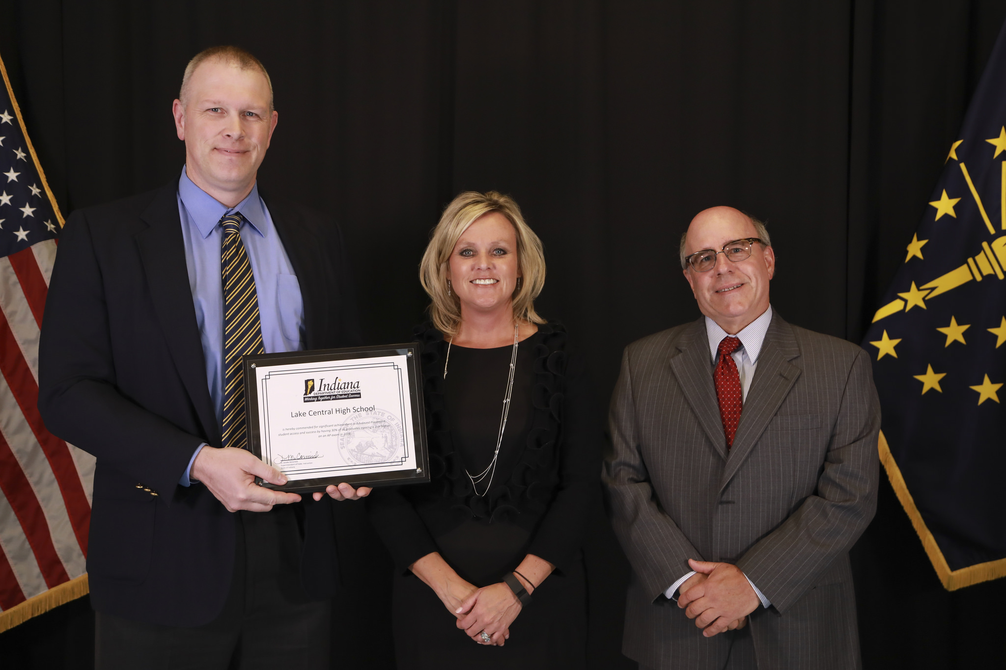 Congratulations to LCHS and the entire corporation for being recognized as a top school in the state of Indiana for having students score a 3 or higher on Advanced Placement tests. Principal Sean Begley and Chemistry teacher Kendall Smith received the award from State Superintendent Jennifer McCormack.
