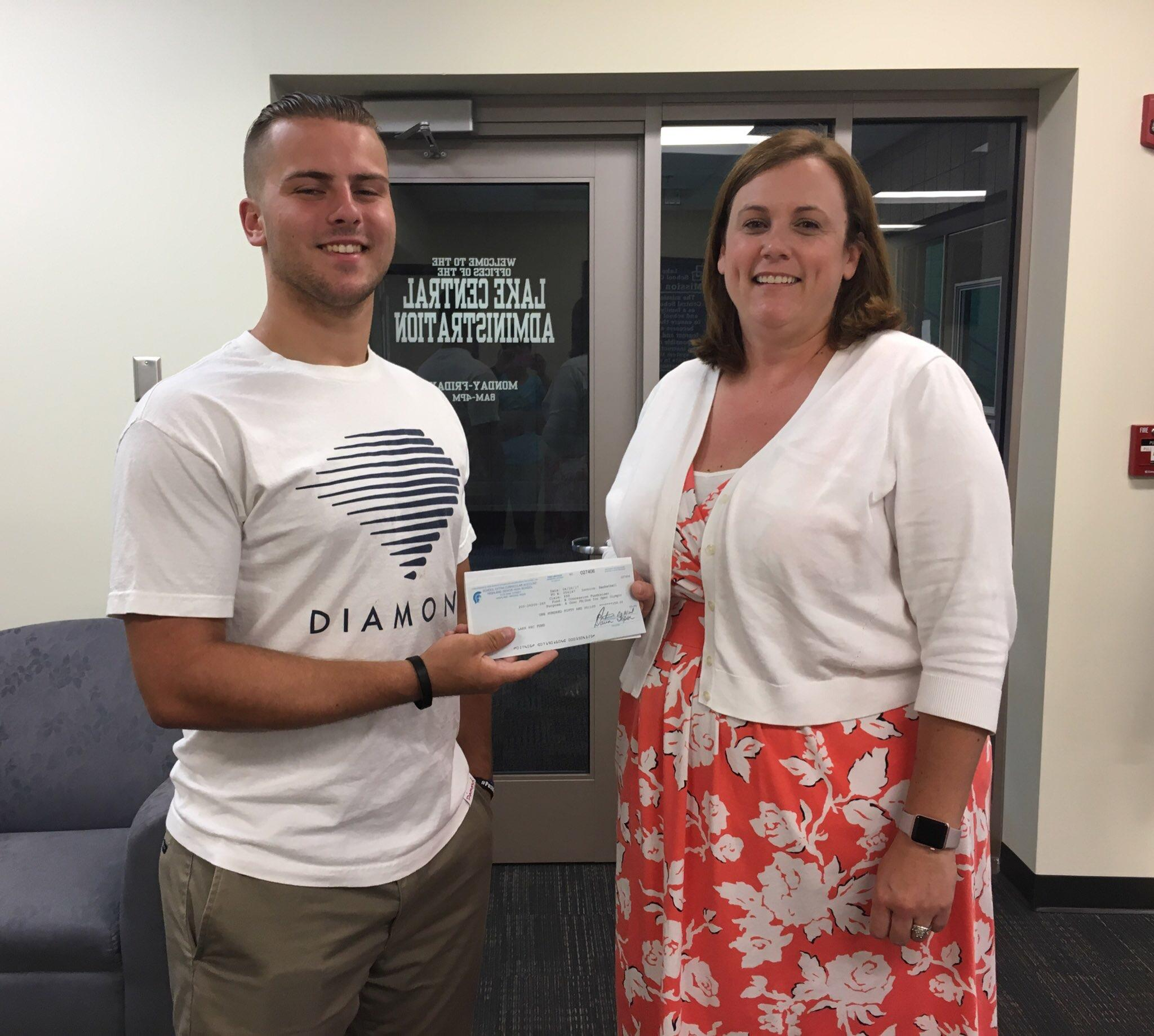 Jackson Long, LCHS senior, donated $400 from the sale of his #PushForTheRegion to the LCHS special needs sports program.