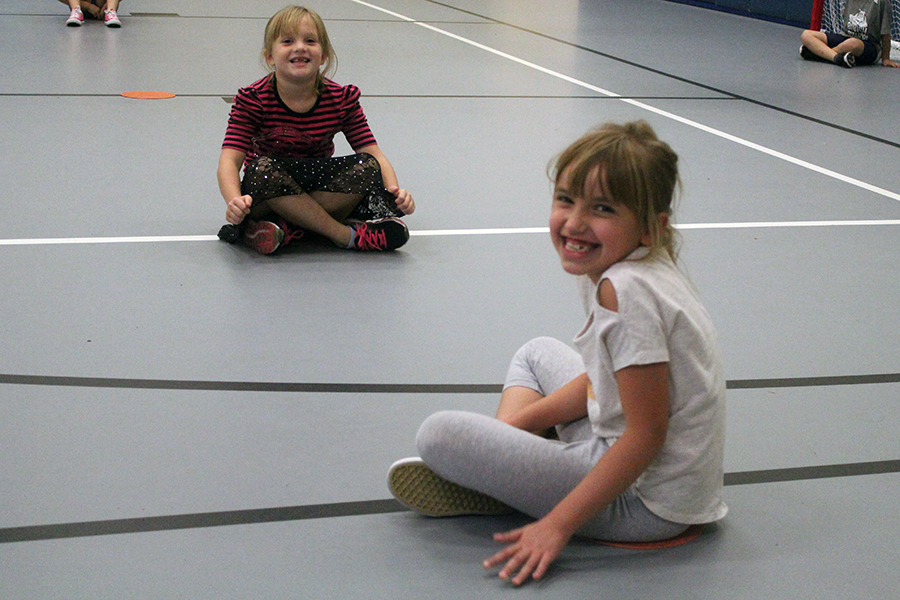 Two girls from Mrs. Hanson's class attend their gym class