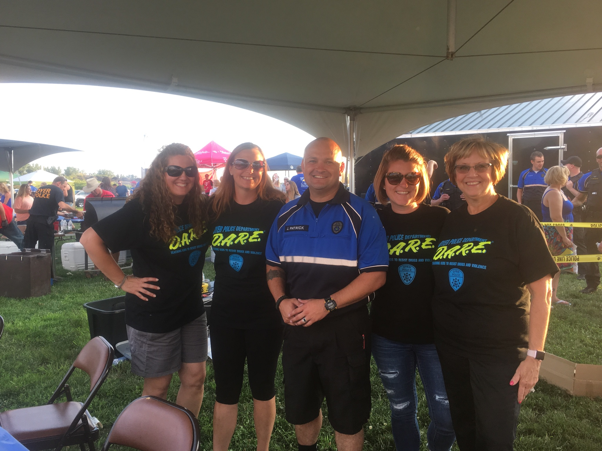 LC SRO Jerry Patrick and the district tech trainers at Dyer's National Night Out