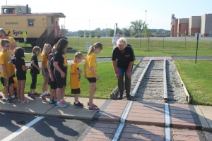 Protsman students pratice how to cross train tracks.