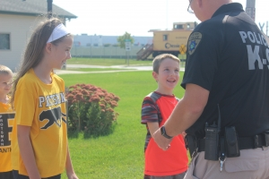 Protsman students learn how to cross the street safley.