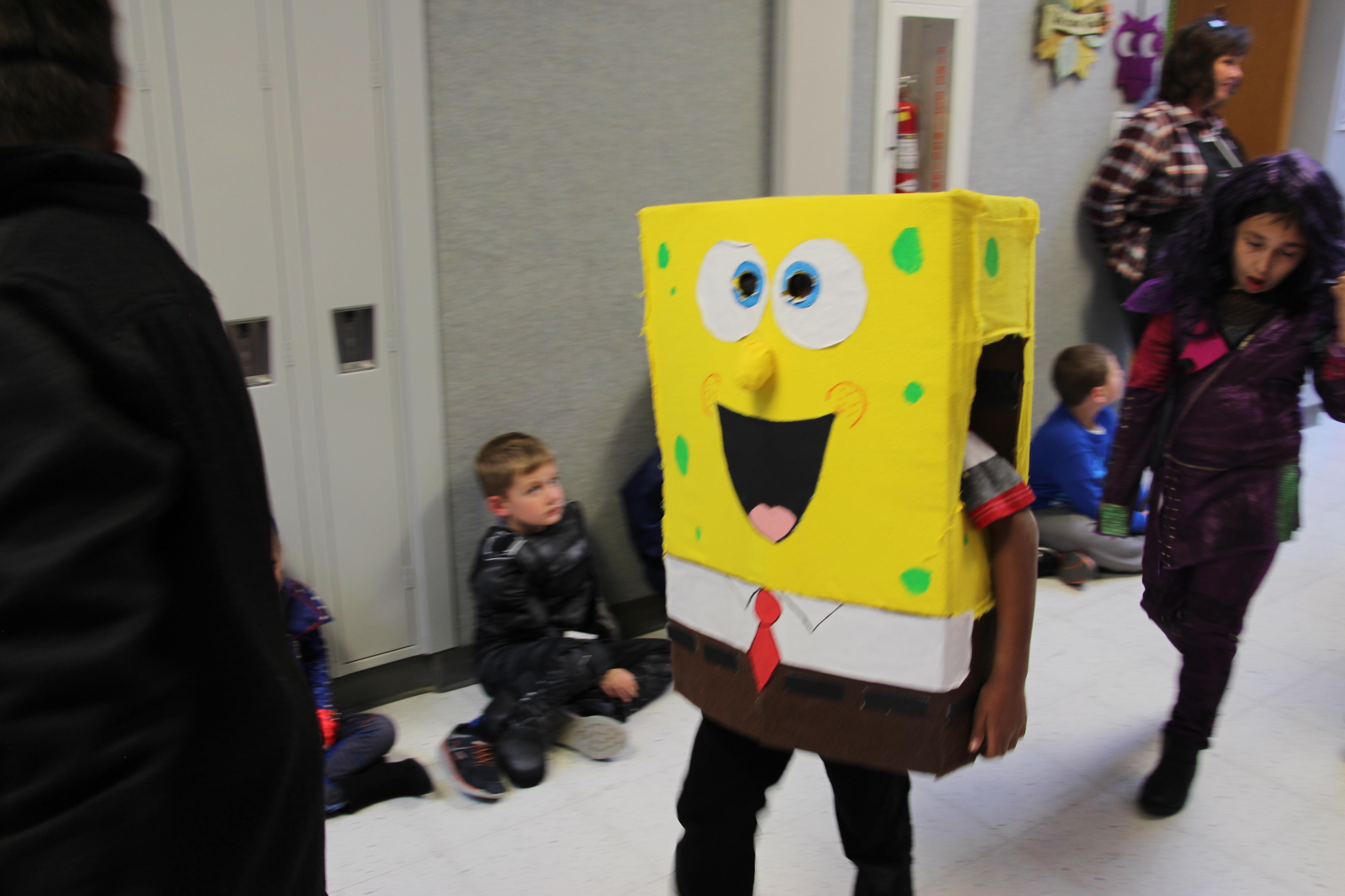 A student wears a Spongebob costume.