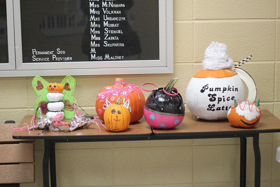 Students decorated pumpkins for the contest.
