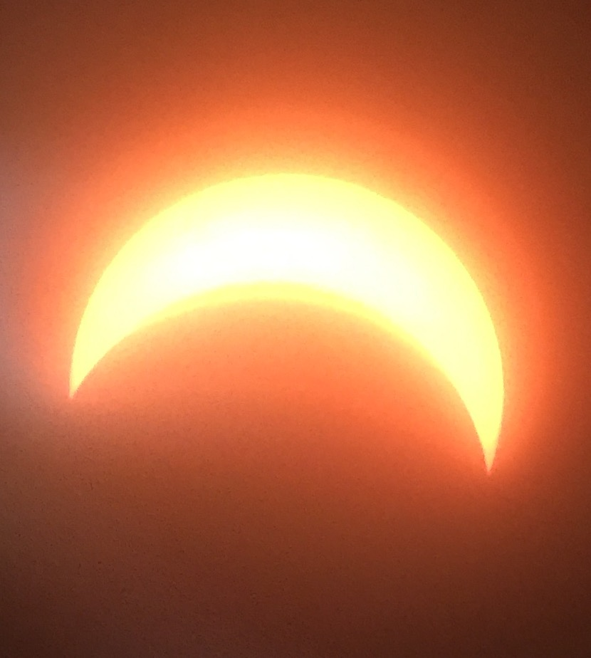 The solar eclipse over LCHS at 1:45pm. Photo was taken through Mr. Bushong's telescope.