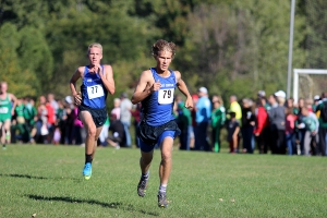 Lake Central's top two runners make their way towards the finish line.