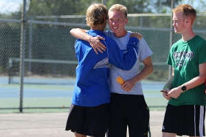 Lake Central students hug one another after placing in top ten.