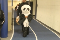 A studen is dressed as a giant panda