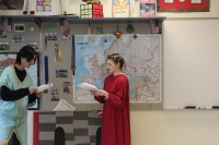 Students read their lines in Hamlet