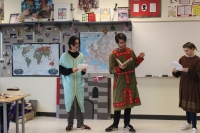 students perform a play in Mr. Fredrick's room
