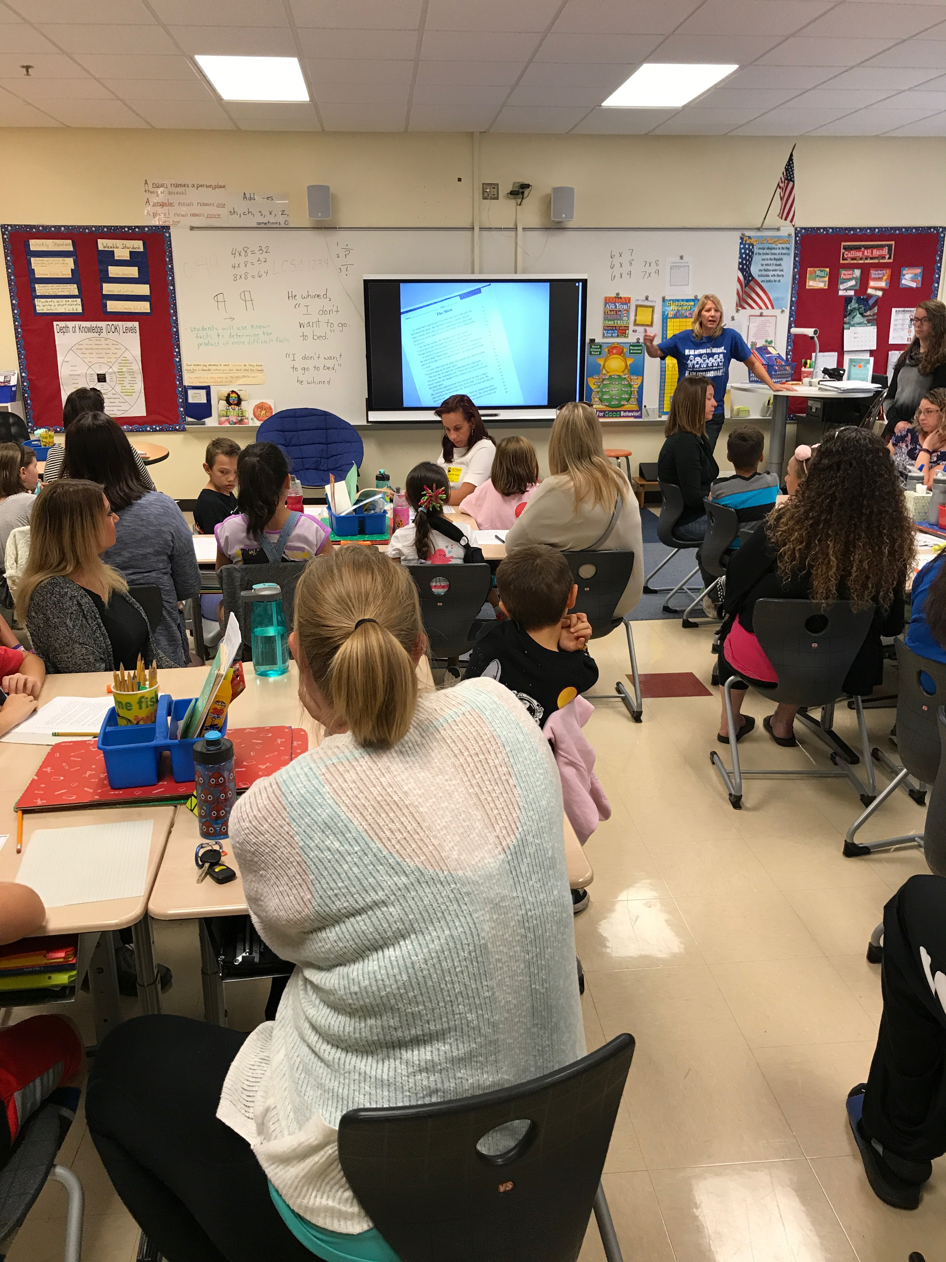 Protsman teacher, Mrs. Dianne Webber, has her third grade students teaching their parents about reading comprehension and test taking strategies.