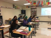 French students work on their assignment.