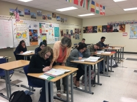 French students work in class.