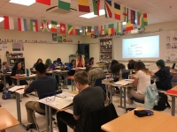 Lake Central students work on French assignments.