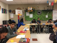 Stuents work on their spanish work.