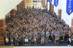 Class of 2021 stands in the mainhallway for the first time