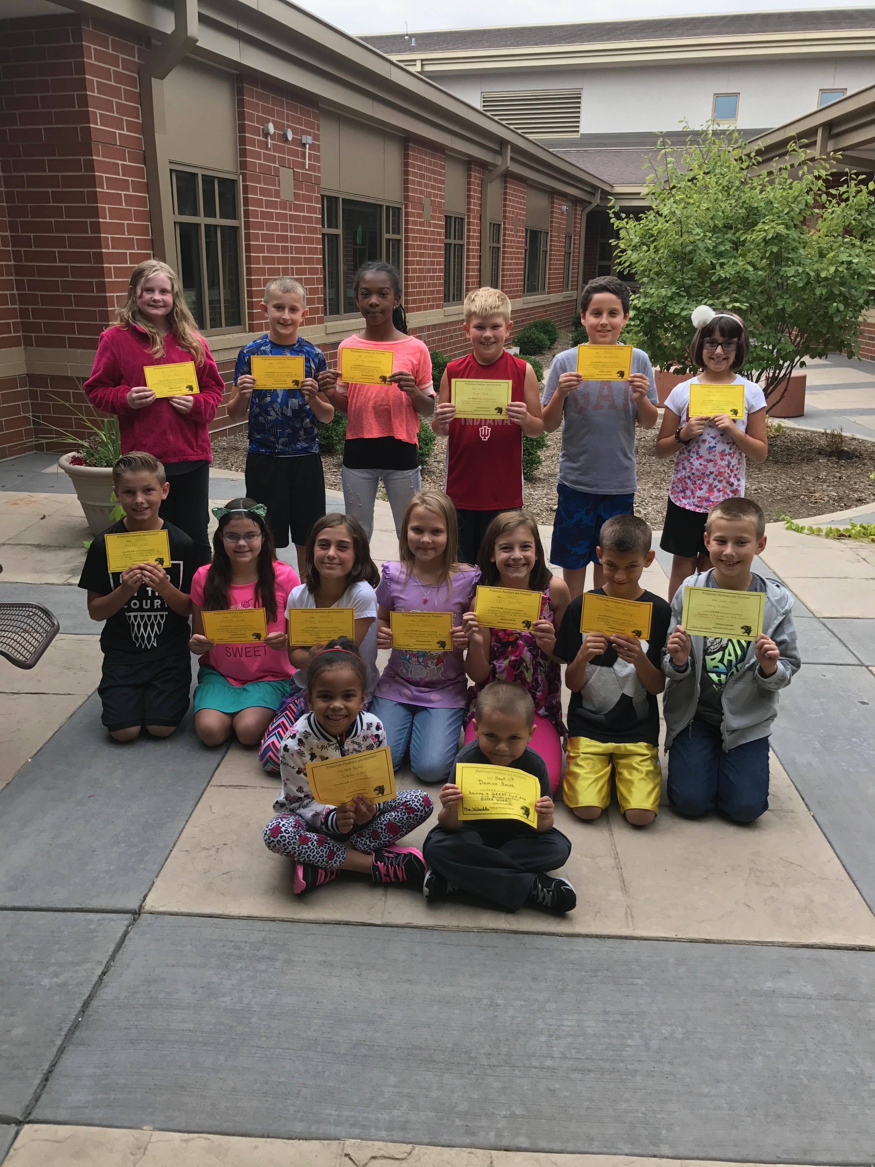 Congratulations to the Protsman students who earned F.E.A.R. (Face Everything and Rise) certificates for the month of September. Way to persevere!