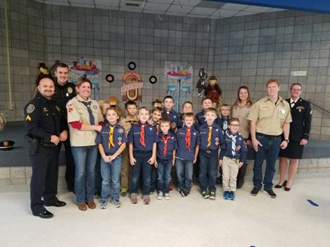 Cpls. Patrick and Hendron and Sgt. Chalos with Cub Scout Pack 510 and 550, participated in Bibich's Veterans Day program on November 10th.