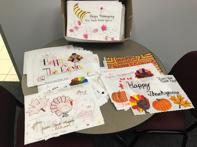 Students from several different Clark MS clubs and groups decorated placemats for several local shelters in the area as part of the school's Character Education initiative.