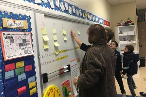 Students help make a chart on the white board.