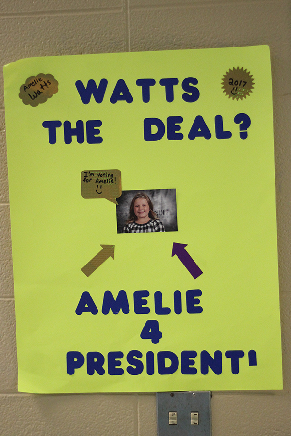 A students made a poster for the elections.