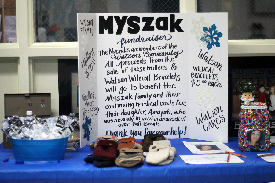 Watson is selling items to benefit the Myszak family and their medical costs.