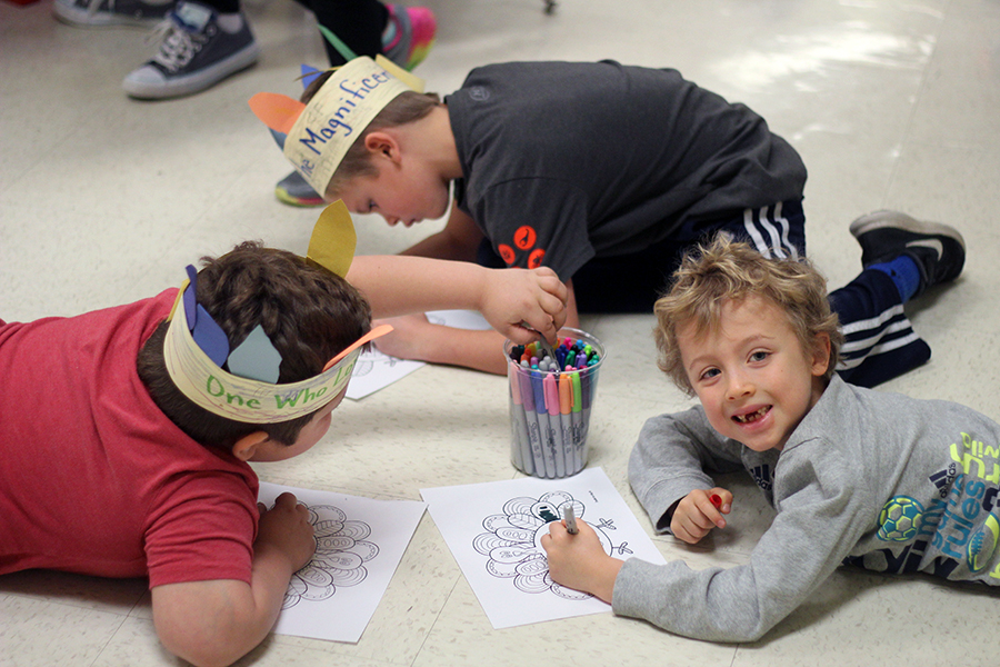 Students work on their art projects.
