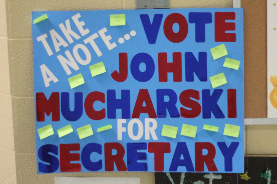 A student made a poster for the student council elections.