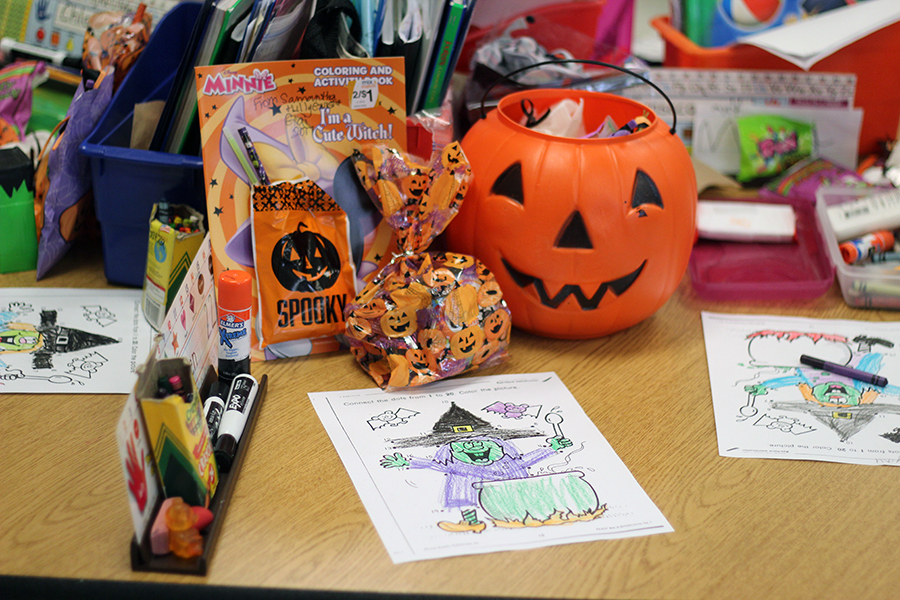 Treats sit on a students desk.