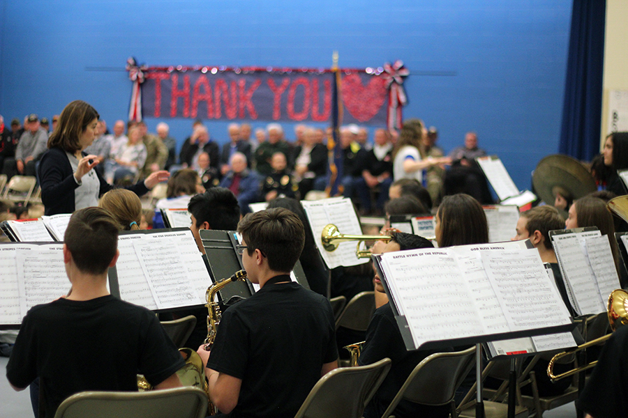 The Kahler band performs during the assembly.