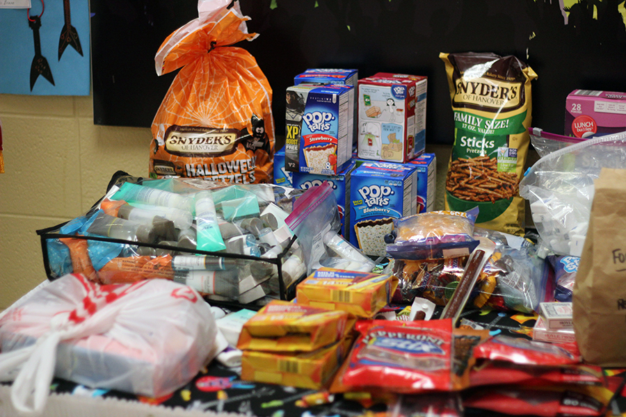 Nonperishable food items sit on the table.