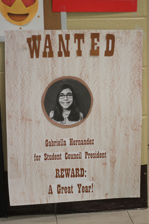 A student made a presidency poster for the elections.