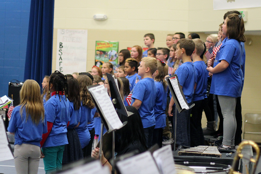 The fourth grade choir sang patriotic songs.
