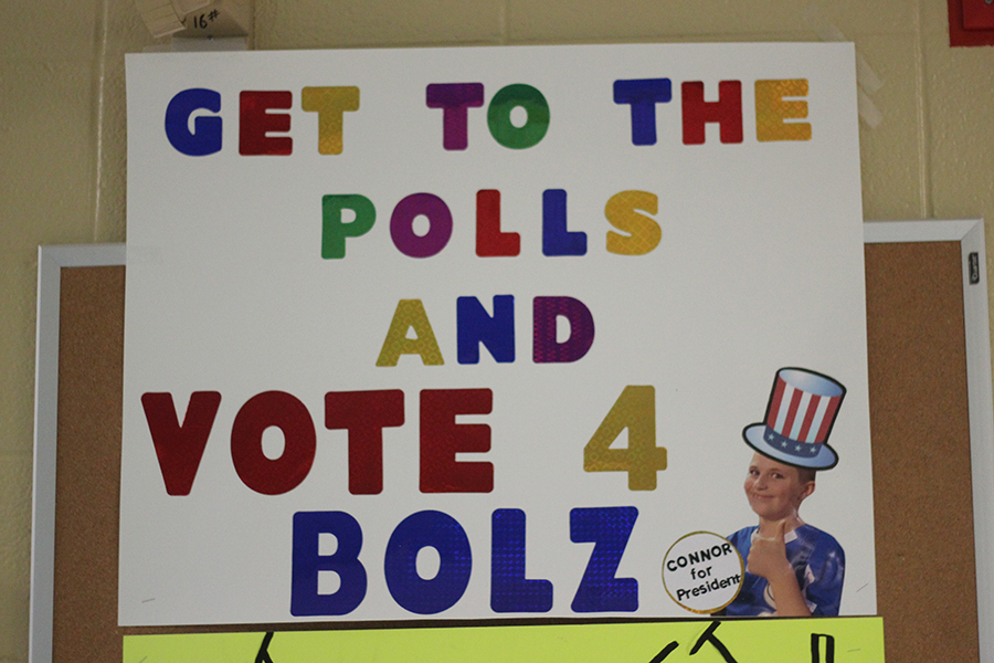 A student made a poster for the student council elections that happen in November.