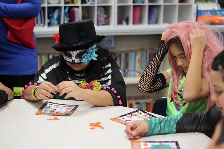 Students play bingo.