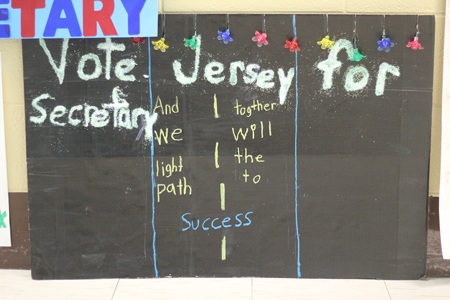 A students made a secretary poster.
