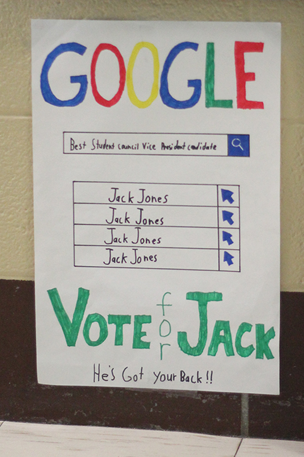 A student made a poster for the elections.