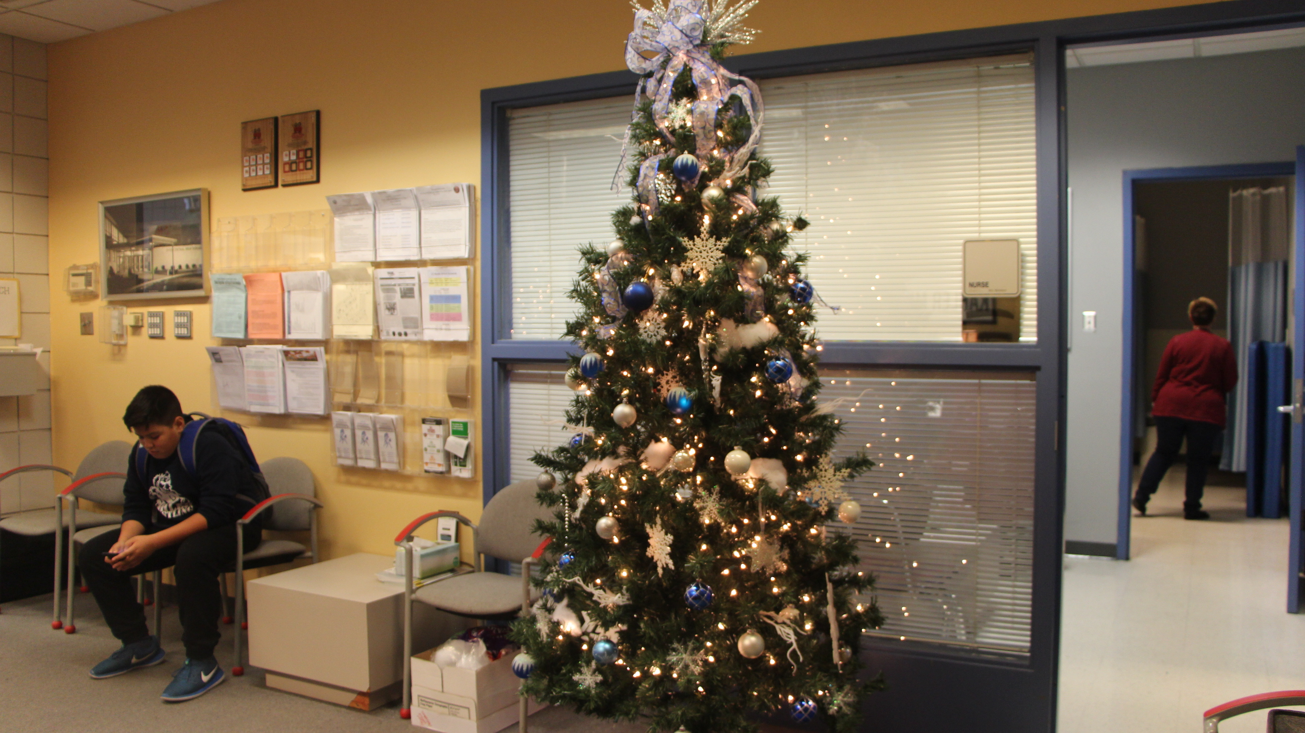 Kahler front office Holiday season decorations.
