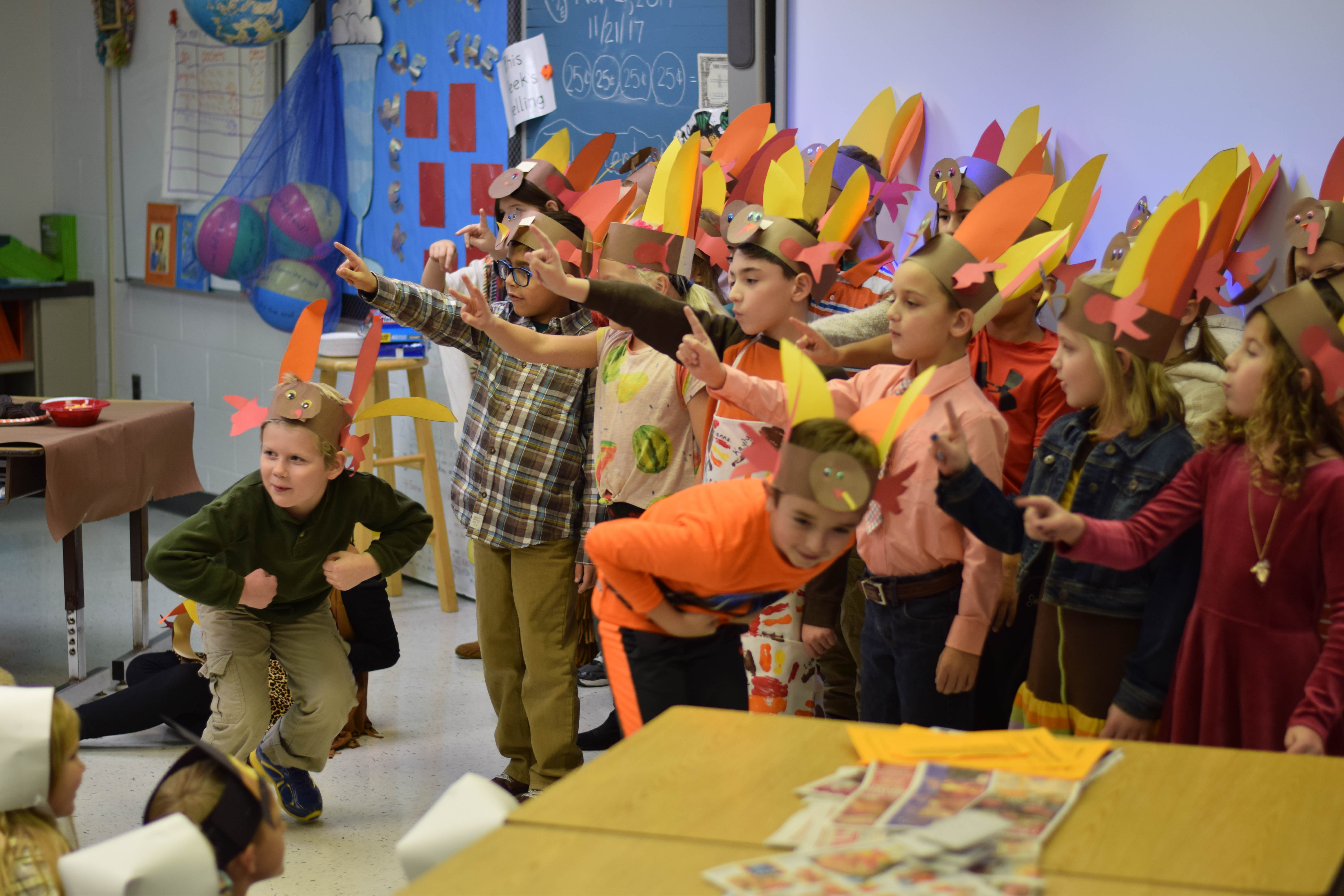 Students pretending to be turkeys