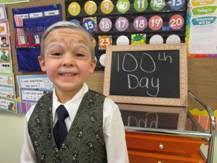 Bibich Kindergarten students dress the part as they celebrate the 100th day of school.