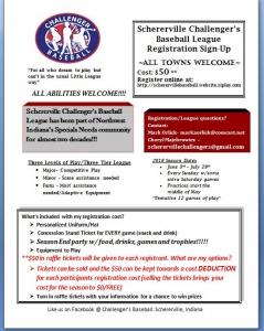 Schererville Challenger's Baseball League Registration Flier